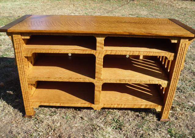 Premium TV Stand, mission style.  Curly quartersawn red oak and walnut