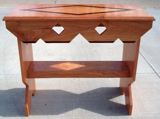Side table.  Cherry wood with Cocobolo (rosewood) trim and top inlay.