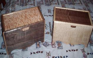 Matched boxes for mother and daughter.  Left is curly walnut with quilted maple.  Right is curly maple with curly walnut lid.