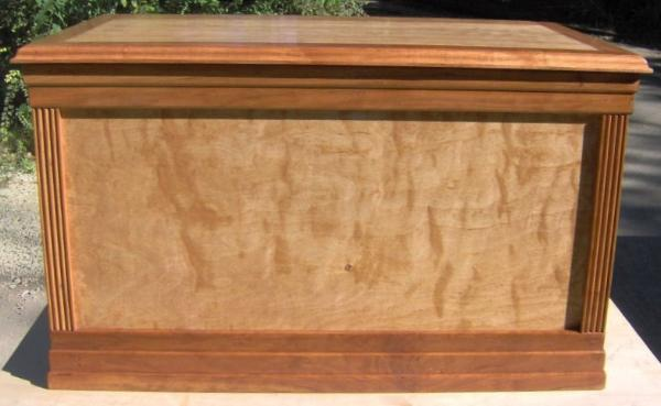 Cherry chest.  Birch plywood stained cherry, custom solid cherry wood trim.