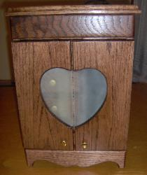 Small Jewelry Armoire.  Wedding gift for bride.  Solid Red Oak.  Front panels are frosted glass.