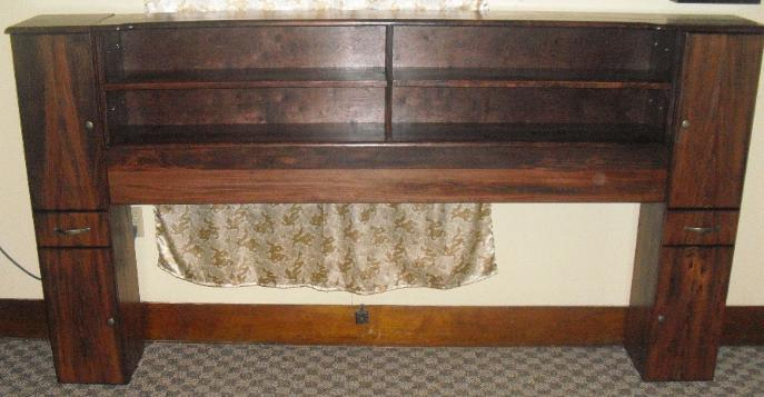 King size headboard.  Sycamore in red mahogany stain.  Cabinet end towers with drawer.  Also has pedestal.